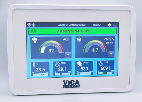 AirMonitor misuratore della qualità dell'aria. Misura particolato, pm2.5, cov, co2. Con interfaccia wifi, ethernet, lorawan, modbus.
